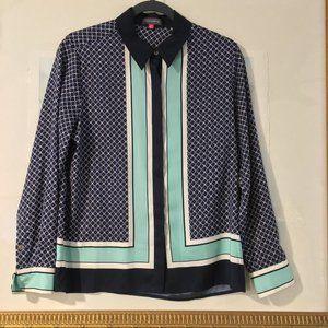 VINCE CAMUTO Button Down Shirt Blouse Stripe PM